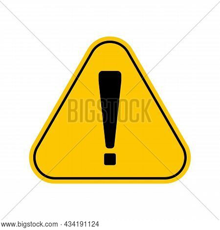 Hazard Warning Attention Sign With Exclamation Mark Symbol, Yellow Triangle Caution Symbol, Isolated