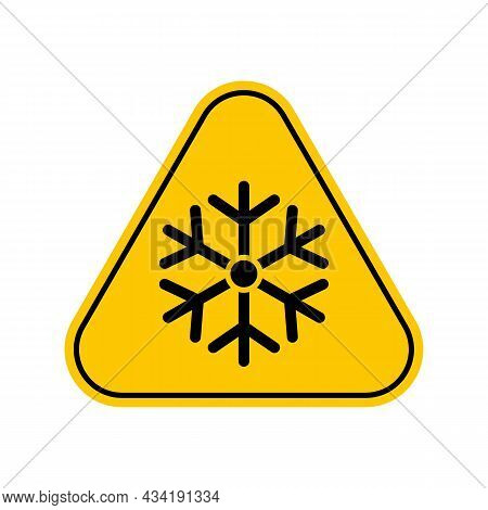 Low Temperature Hazard Symbol. Vector Illustration Of Yellow Triangle Warning Sign With Snowflake Ic