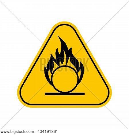 Oxidizing Hazard Warning Sign , Yellow Triangle Caution Symbol, Isolated On White Background, Vector