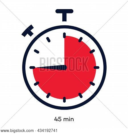 Timer 45 Minutes Symbol Color Line Style Isolated On White Background. Clock, Stopwatch, Cooking Tim