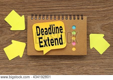Deadline Extended. Business And Education Concept. Closed Spiral Notepad With Stickers Lying On Top.