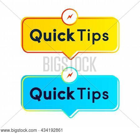 Quick Tips Sticker Vector Set Modern Style For Tooltip Badge, Solution And Advice Banner, Helpful Tr