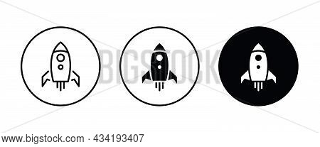 Startup Vector Rocket Illustration. Futuristic Spaceship Background. Start Up Business Space Ship Ic