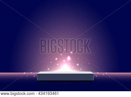 3d Realistic Pedestal Podium With Light Burst Illumination Partlcles On Dark Blue Background For Pro