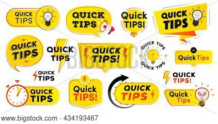 Quick Tips Label Vector Set Modern Style For Tooltip Badge, Solution And Advice Banner, Helpful Tric