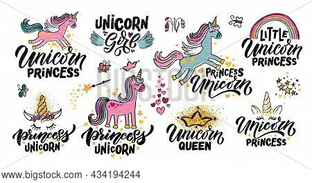 Hand Sketched Unicorn Vector Illustration Set With Lettering Typography Quotes. Motivational Quotes
