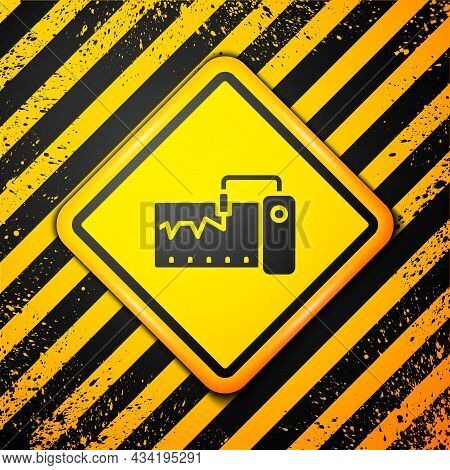Black Electrical Measuring Instrument Icon Isolated On Yellow Background. Analog Devices. Measuring