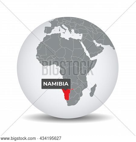 World Globe Map With The Identication Of Namibia. Map Of Namibia. Namibia On Grey Political 3d Globe