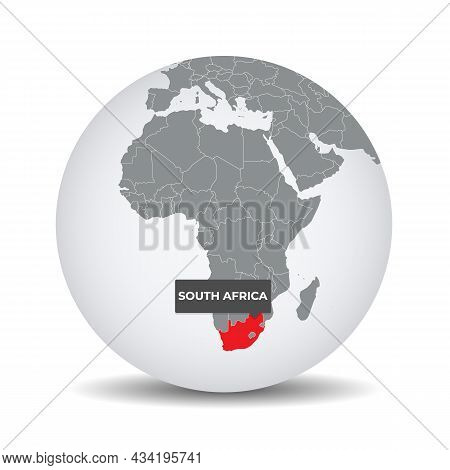 World Globe Map With The Identication Of South Africa. Map Of South Africa. South Africa On Grey Pol