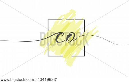 Calligraphic Lowercase Letters Co In A Single Line On A Colored Background In A Frame. Vector Illust