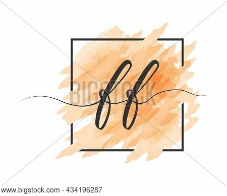 Calligraphic Lowercase Letters F And F Are Written In A Solid Line On A Colored Background In A Fram