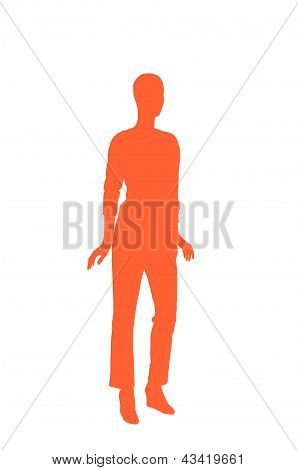 Fashion Dummy Silhouette (orange Shadow Isolated In White Background)