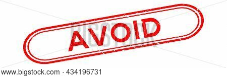 Grunge Red Avoid Word Rubber Seal Stamp On White Background