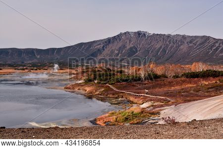Caldera Of Uzon Volcano In Autumn, Kamchatka Territory