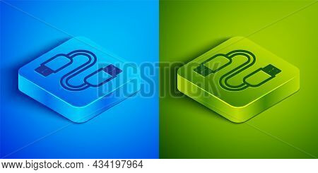 Isometric Line Usb Cable Cord Icon Isolated On Blue And Green Background. Connectors And Sockets For