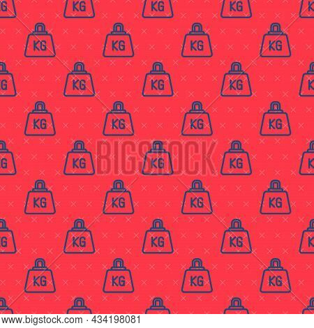 Blue Line Weight Icon Isolated Seamless Pattern On Red Background. Kilogram Weight Block For Weight