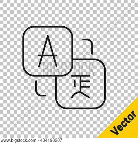 Black Line Translator Icon Isolated On Transparent Background. Foreign Language Conversation Icons I