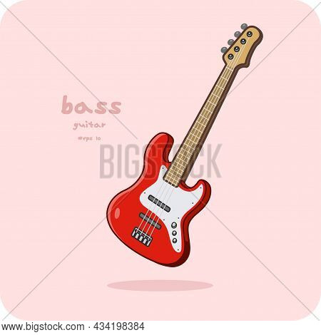 Bass Guitar, Vector Design And Isolated Background.