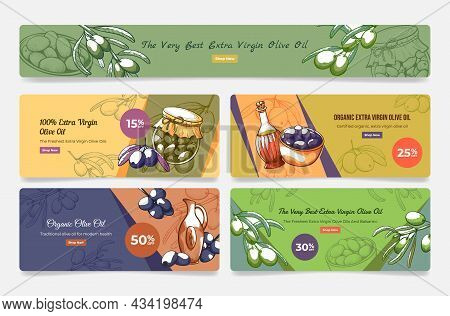 Organic Extra Virgin Olive Oil Landing Page Set Vector Illustration. Promo Webpage Banner Template