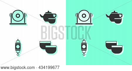 Set Chinese Tea Ceremony, Gong, Paper Lantern And Icon. Vector