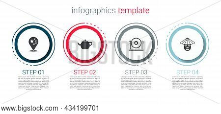 Set China Flag, Chinese Tea Ceremony, Gong And Man. Business Infographic Template. Vector