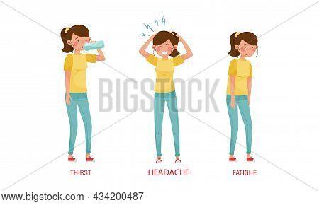 Diabetes Symptoms Set. Thirst, Headache, Fatigue Vector Illustration