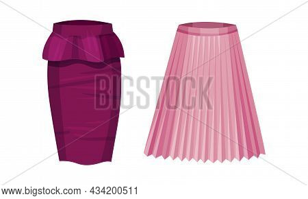 Elegant Glamorous Fitted Pencil And Pleated Textile Skirts Set. Fashion Female Apparel Cartoon Vecto