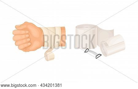 First Aid For Wound. Medical Bandage Wrapped Around Hurt Human Hand Vector Illustration