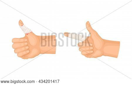 Wounded Fingers With Bandage. First Aid For Burn Or Cut Wound Vector Illustration