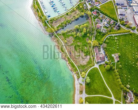 Drone Landscape Panorama From Above Of The Lake Constance Bodensee And Seeburgpark In Kreuzlingen Ca