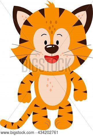 Cute Little Tiger Cub Stood With A Big Smile.