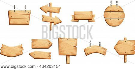 Wooden Signs, Boards And Signs In Different Shapes, Arrows.