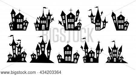 Selection Of Gloomy Castles Halloween On White Background - Vector Illustration