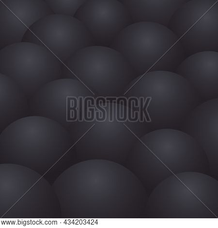 Abstract Realism Background With Black 3d Spheres.vector Banner Template Of Black Gradient Balls. Lu
