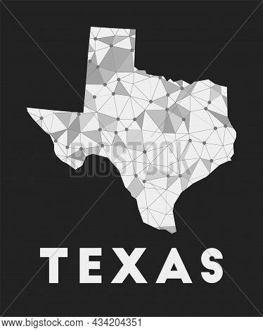 Texas - Communication Network Map Of Us State. Texas Trendy Geometric Design On Dark Background. Tec