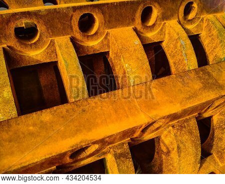 Rusty Detail Of Steel Construction Huge Mechanism. Abstract Background.
