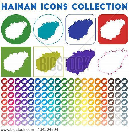 Hainan Icons Collection. Bright Colourful Trendy Map Icons. Modern Hainan Badge With Island Map. Vec