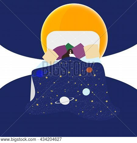 Woman Sleeps In Bed, Covered With A Blanket From Space, Planets And Stars, The Full Moon Rises. Flat