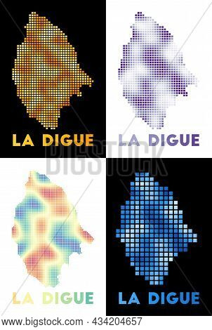 La Digue Map. Collection Of Map Of La Digue In Dotted Style. Borders Of The Island Filled With Recta