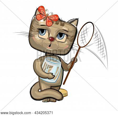 Baby Kitten Catch With A Net Butterflies. Characters Of Child Stand. Funny Scenery With Cat. A Young