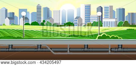 Pipeline For Various Purposes. Beautiful City Landscape. Underground Part Of System. Illustration Ve