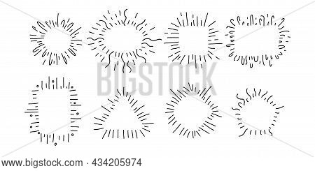 Hand Drawn Decorative Starburst Frame Set. Outline Shining Star With Geometric Frames And Copy Space