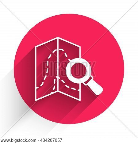 White Search Location Icon Isolated With Long Shadow. Magnifying Glass With Pointer Sign. Red Circle