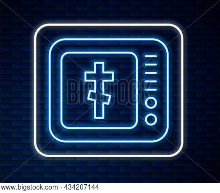 Glowing Neon Line Online Church Pastor Preaching Video Streaming Icon Isolated On Brick Wall Backgro