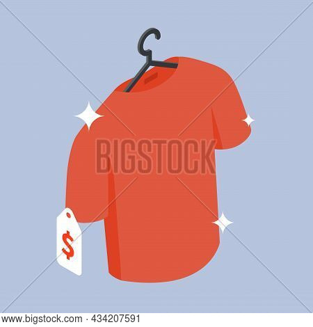 Buying New Clothes Sale Discount Vector Isometric Illustration. Red T Shirt Hanged On Hanger Label D