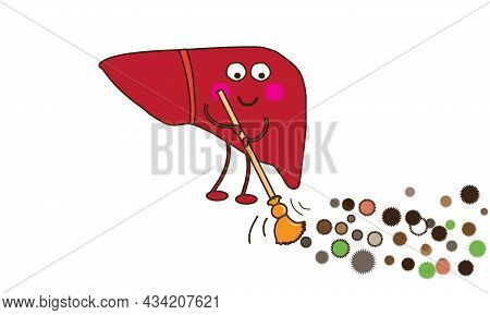 The Human Liver Cleanses The Body Of Toxins. Symbol. Vector Illustration.