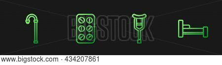 Set Line Crutch Or Crutches, Walking Stick Cane, Pills Blister Pack And Bed. Gradient Color Icons. V