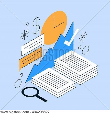 Working Paper Documents Isometric Vector Illustration. Accounting, Analyzing Profit Graph And Chart,