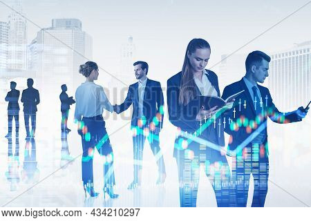 Businessman Wearing Formal Suit Is Shaking Hands With Businesswoman. New York City Skyscraper In The
