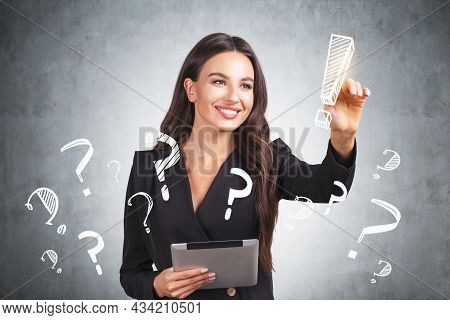 Smiling Businesswoman Wearing Formal Suit Is Touching Exclamation Mark With Her Finger. Sketch With